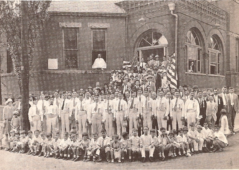 1924 - The Ahepa Patrol of Atlanta Chapter No. 1 at the Atlanta Greek Orthodox Church, with Ahepans, members of the Greek community, and children of the Greek School