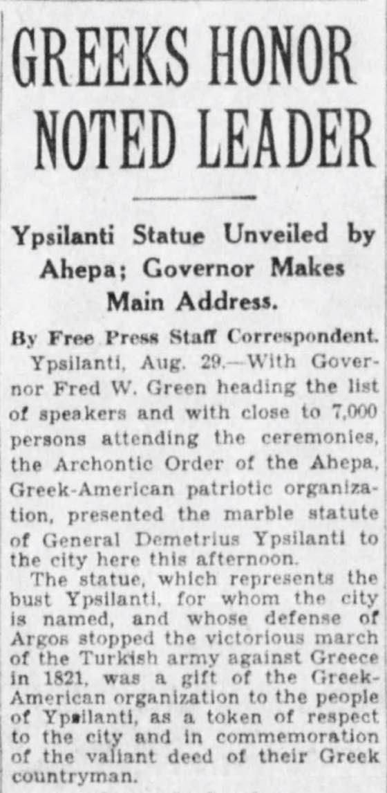 AHEPA Ypsilanti Statue Unveiling (Detroit Free Press - August 29, 1928)