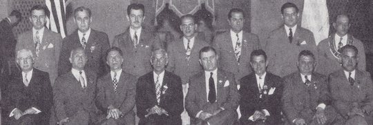 1947 - Photo of the Past Presidents of Baltimore, Md. Chapter #30. Theodore S. Agnew, father of the Vice President of the United States, is in the front row, extreme left. He was President of his chapter in 1928, and later became District Governor of District #3.