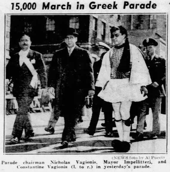 1961 - 15,000 March in Greek Independence Day Parade - Nicholas Vagionis Ahepa Bergen Knights - Parade chairman Nicholas Vagionis, Mayor Impellitteri and Constantine Vagionis