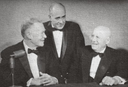 1960 - Supreme President Loucas (center) with Secretary of State Christian Herter and Speaker of the House Sam Rayburn at the 1960 National Banquet.