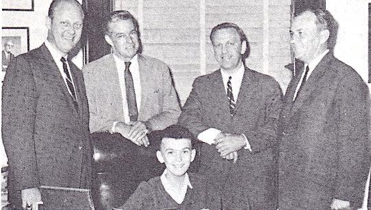 1963 - Heart patient from Greece with Congressmen Bolling, Sickles, and Brademas, and patient's father.