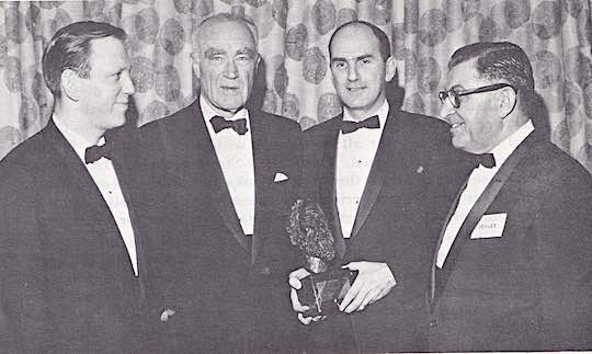 1964 - HENRY R. LUCE, (second from left) publisher of TIME and LIFE, was the first recipient of the Ahepa Socratic Award in 1964. Also shown: U. S. Congressman John Brademas, Supreme President John G. Plumides, Supreme Trustees Chairman Socrates V. Sekles