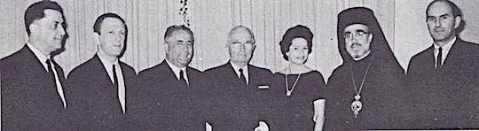 1964 - American delegation named by President Johnson to attend the funeral of King Paul of Greece, are all members of Ahepa, except Mrs. Johnson. With Mrs. Johnson are Mike Manatos, John Brademas, Judge John Pappas, President Truman, Archbishop lakovos, John G. Plumides.
