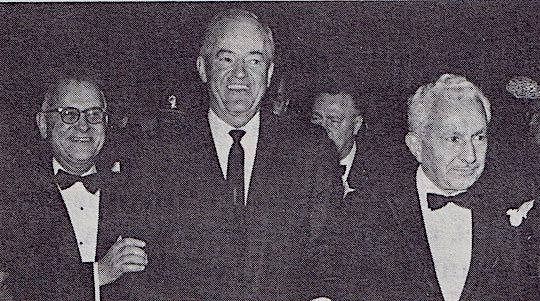 1966 - Vice President Hubert H. Humphrey, AHEPA member of Minneapolis Chapter #66, is welcomed to the 1966 National Banquet by Brothers Demos and Doukas.