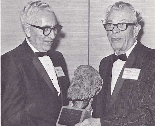 THE 1968 AHEPA SOCRATIC AWARD - U. S. Senator Everett M. Dirksen (right) is the recipient of the 1968 Ahepa Socratic Award, being presented by Supreme President Andrew Fasseas.