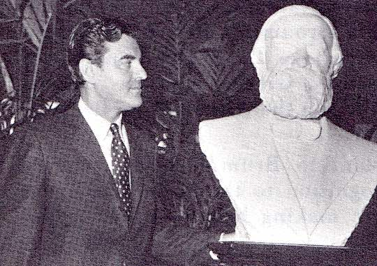 1968 - Congressman Peter N. Kyros (Maine) with the marble bust of Constantino Brumidi, Greek artist known as the 'Michelangelo of the United States Capitol'