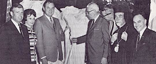 1968 - Governor Kirk of Florida with Ahepa officials at the Ahepa plaque and monument at New Smyrna Beach, Florida