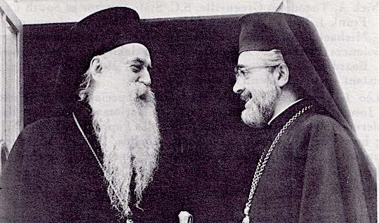 His Holiness Ecumenical Patriarch Athenagoras I (left) and His Eminence Archbishop Iakovos at a meeting at the Patriarchote.