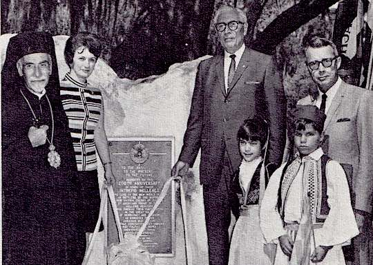 1968 - Presidents Andrew Fasseas and Joanna Panagapoulos unveiling the Ahepa plaque and monument at New Smyrna Beach, Fla., commemorating the 200th anniversary of the First Landing of Hellenes in  America in 1768.