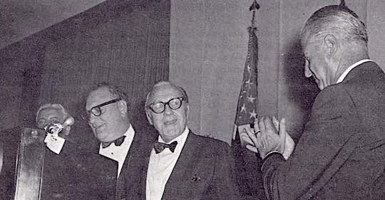 1968 - Supreme President Manesiotis, Jack Benny, and Vice President Agnew at the Agnew Scholarship Dinner in Baltimore The Scholarship Fund was established in memory of Theodore S. Agnew, father of the Vice President, by Baltimore Chapter #30.