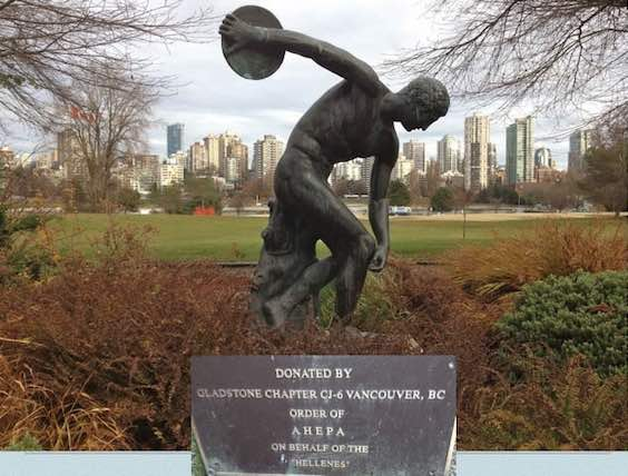 AHEPA Vancouver Gladstone Chapter donates a replica of the Myron statue, The Discus Thrower, (Diskobolos) to the City of Vancouver