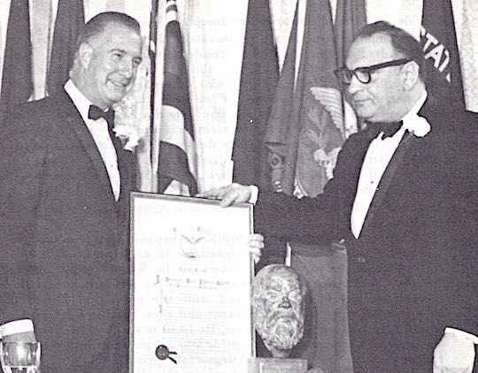 THE 1970 AHEPA SOCRATIC AWARD - Vice President Spiro T. Agnew (left) is the recipient of the 1970 Ahepa Socratic Award, being presented by Supreme President Louis G. Manesiotis.