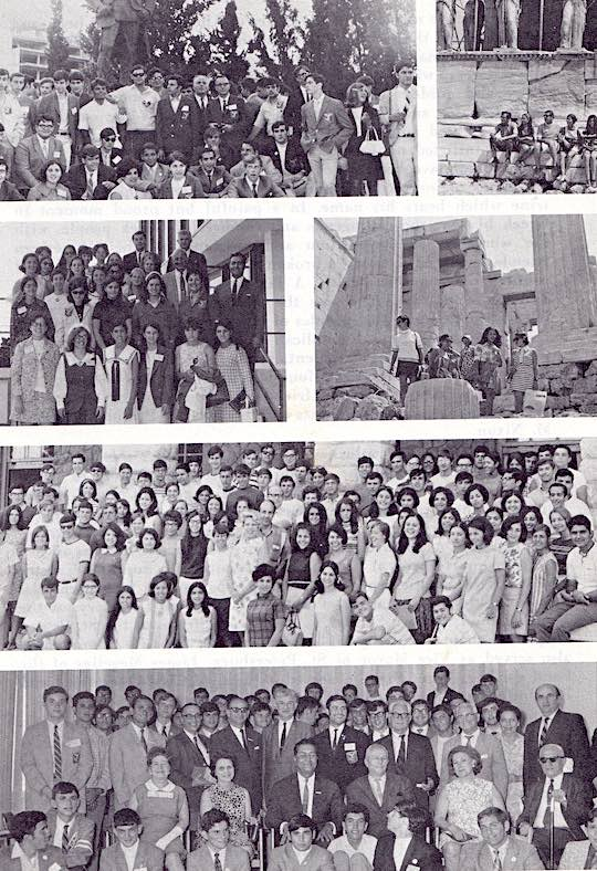 Scenes in Greece from the Ahepa Educational Journeys to Greece for high school students. The first program started in the summer of 1969, and the fourth successive program is being held this summer of 1972. Including 1972, more than 600 students will have taken part in these programs.