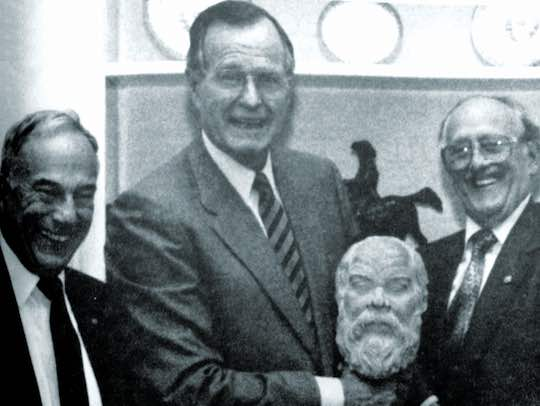 1990 - The Order of AHEPA presenting President Bush with the AHEPA Socrates Award in the Oval Office.