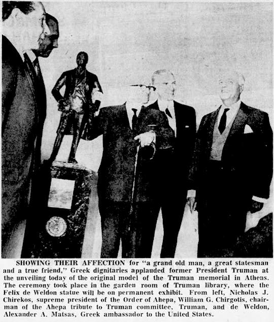 1965 - Ahepa presents a model of the Ahepa Truman Statue to President Truman and the Truman Library in Independence, Missouri.
