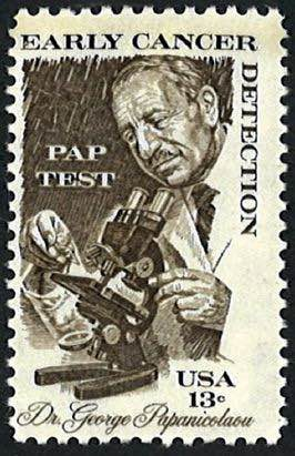 Ahepan Dr. George Nicholas Papanikolaou - In 1978, Dr. Papanikolaou's work was honored by the United States Postal Service with a 13-cent stamp