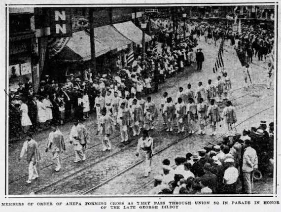 AHEPA Marches in Parade Honoring George Dilboy - Somerville, Massachusetts - August 26, 1930