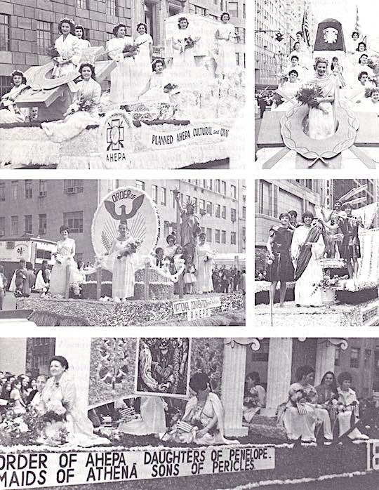 Floats of the Ahepa and Auxiliaries in New York City Greek Independence Day parades