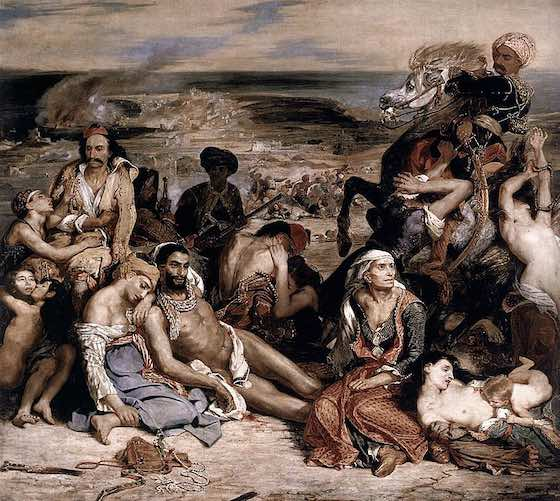 Le Massacre de Chios - Oil painting by French artist Eugène Delacroix (1824 - Louvre, Paris)