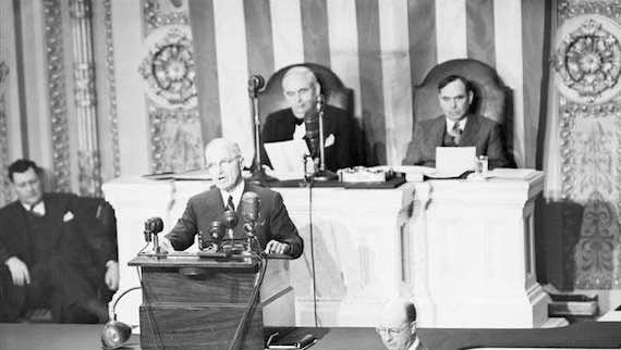 President Truman before a joint session of Congress on March 12, 1947